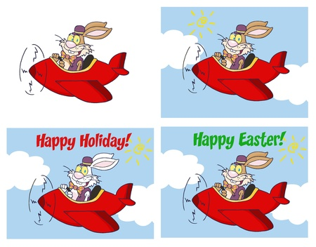 Easter Rabbit Flying With Plane Different Colors Collection Vector