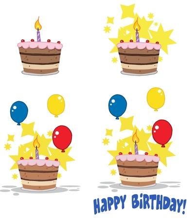 Birthday Cake   Collection Vectores