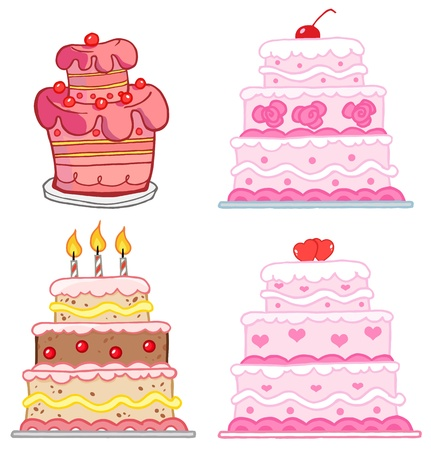 Verschillende Cakes Collection Stock Illustratie