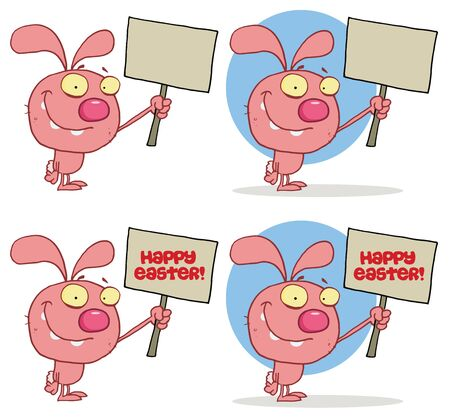 Cute Rabbit Holding Up A Blank Sign  Collection Vector