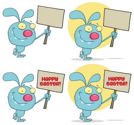 Happy Rabbit Holding Up A Blank Sign  Collection Stock Vector - 13068280
