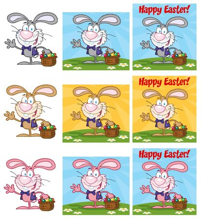 Waving Bunny With Easter Eggs Different Colors Collection Vector
