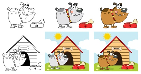 Happy Bulldog Different Color Collection Vector