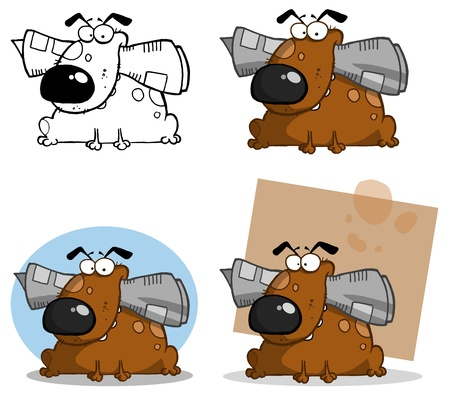 Dog Holds Newspaper In Mouth Collection Vector