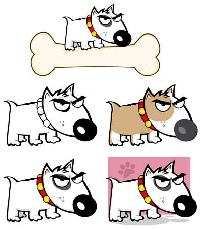 Angry Dog Bull Terrier Collection Vector