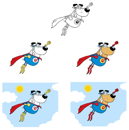 Super Hero Dog Flying In Sky Collection Vector