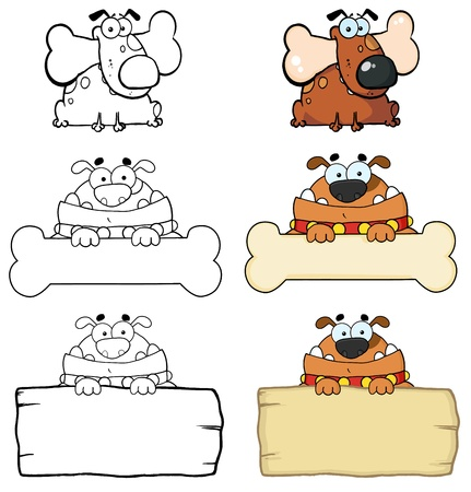 Different Breed Of Dogs And Blank Sign  Collection Vector