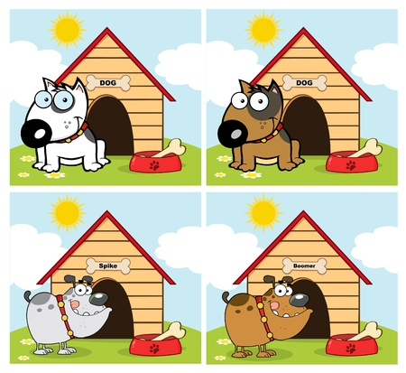 Dogs Different Breed In Front Of His Dog House Collection Vector