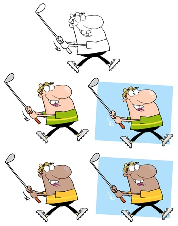 Happy Golfer Running  Collection Vector