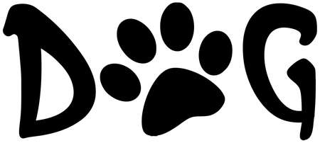 dog paw: Dog Text With Black Paw Print Illustration