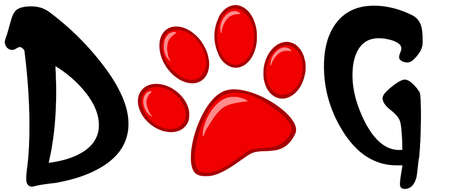 Dog Text With Red Paw Print Stock Vector - 13068167