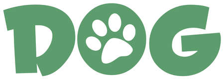 Dog Green Text With Paw Print Stock Vector - 13068168