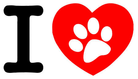 dog paw: I Love Text With Red Heart And Paw Print