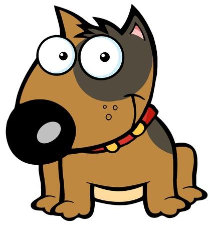 dog ears: Smiling Brown Bull Terrier Dog Illustration