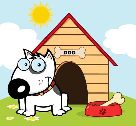 Lachende Bull Terrier Met een bot in zijn schotel buiten Zijn Dog House