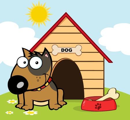 casa de perro: Sonriendo Brown Bull Terrier con un hueso en su plato fuera de su casa para perros