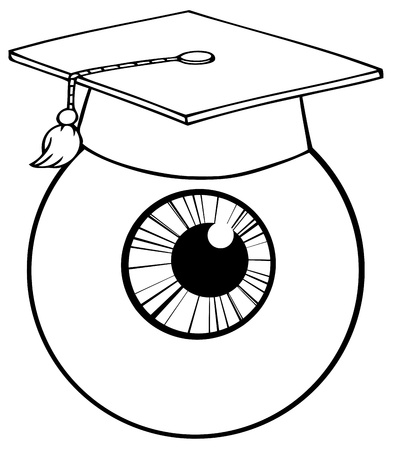 high: Outlined Eye Ball Cartoon Character With Graduate Cap Illustration