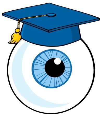 Eye Ball Cartoon Character With Graduate Cap