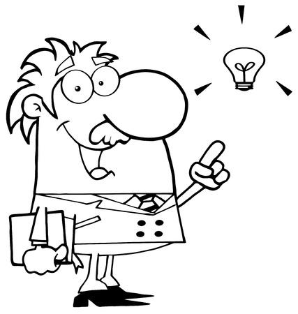 id�e lumineuse: Heureux professeur en noir et blanc une brillante id�e Illustration