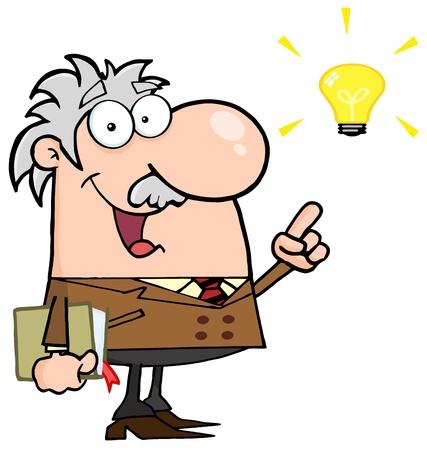 cientificos: Profesor feliz con una idea brillante