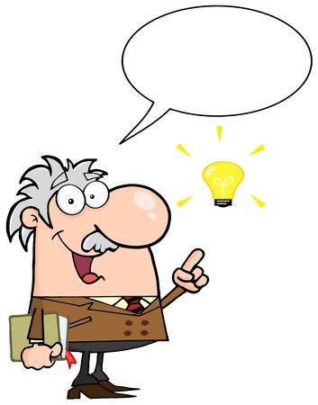 Happy Professor Talking About A Bright Idea Vector