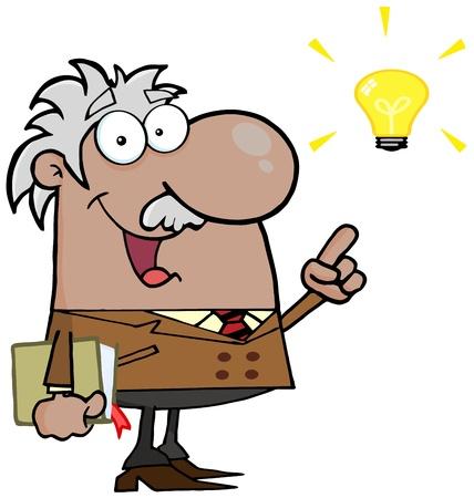 Happy Hispanic Or Black Professor With A Bright Idea
