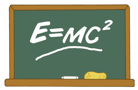 equals: Die Messe Energie-�quivalenz E Equals MC2 Gleichung On A Chalk Board Illustration