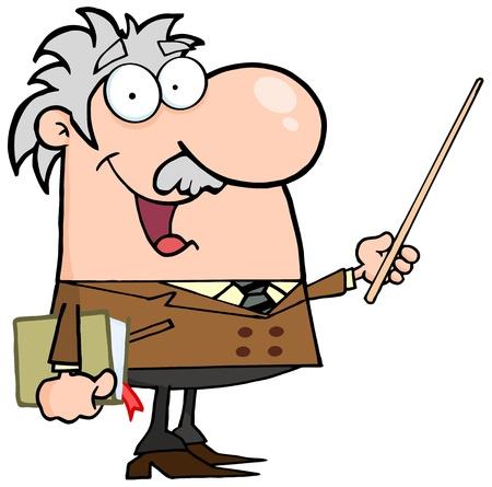 pointer stick: Felice caucasica Professor usando un bastoncino Pointer Vettoriali