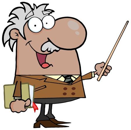pointer stick: Felice il professor neri o ispanici con un bastoncino Pointer Vettoriali