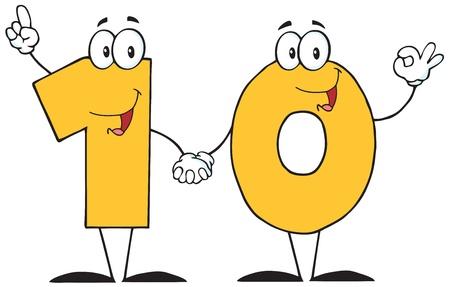 numero diez: Número Diez de dibujos animados Vectores