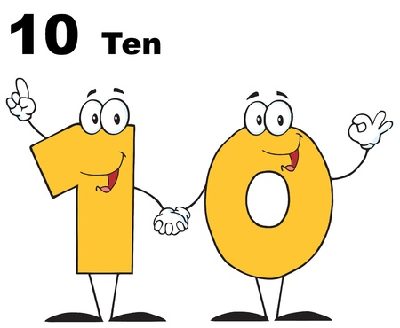 Number Ten Cartoon Character With Text Vector