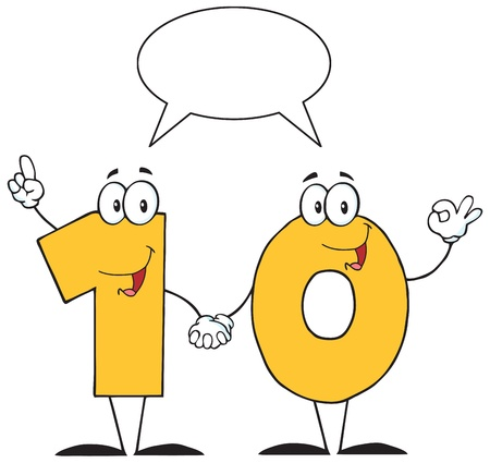 Number Ten Cartoon Character With Speech Bubble