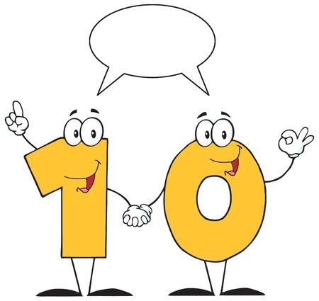 communication cartoon: Number Ten Cartoon Character With Speech Bubble