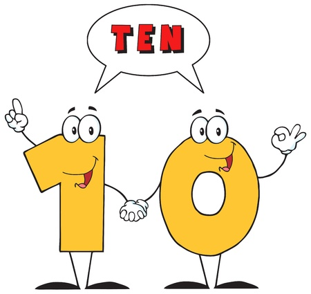 Number Ten Cartoon Character With Speech Bubble And Text Vector