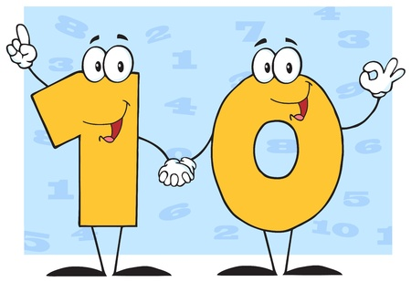 Number Ten Cartoon Character With Background Vector
