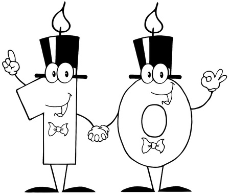Outlined Number Ten Candles Cartoon Character