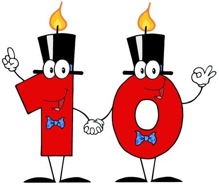 number candles: N�mero Diez velas de dibujos animados Vectores