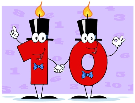 Number Ten Candles Cartoon Character With Background Illustration