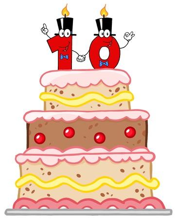 numero diez: Pastel de cumpleaños, o pastel de bodas con Número Diez velas Vectores