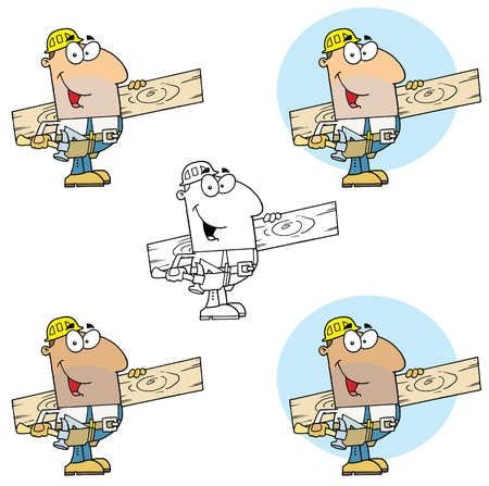 Carpenter Man Carrying A Wood Board Collection Vector