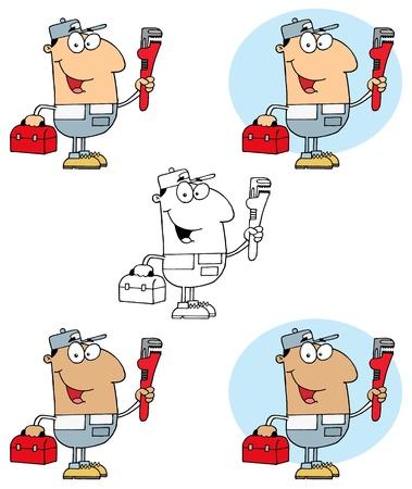 carrying box: Plomero hombre que lleva una llave roja y Colecci�n Caja de Herramientas Vectores