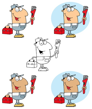 Plumber Man Carrying A Red Wrench And Tool Box Collection Stock Vector - 13344345
