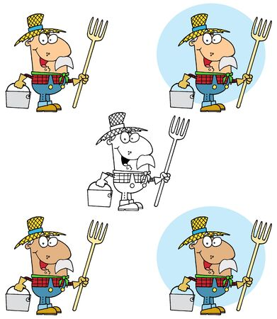 Farmer Carrying A Rake And Pail Collection Stock Vector - 13344347