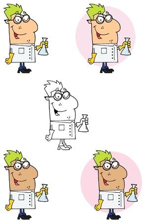 플라스크 컬렉션을 들고 과학자