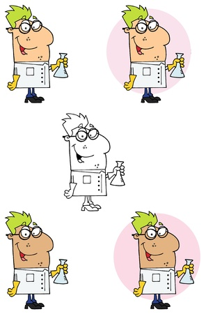 Scientist Carrying A Flask Collection Vector