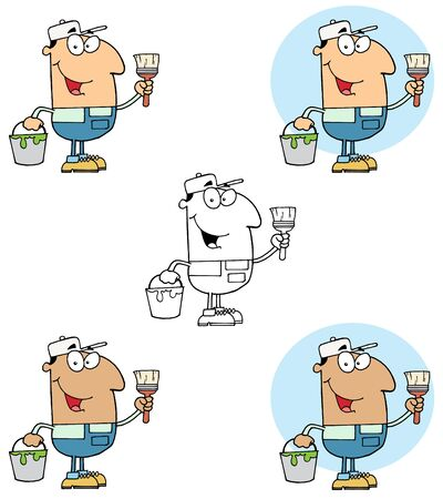 House Painter Holding A Pail And Paintbrush Collection Vector