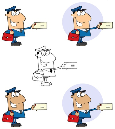 Postal Worker Mail Man Holding A Letter Collection Vector