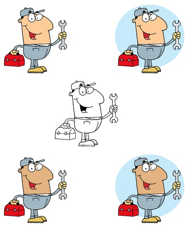 Mechanic Man With Tool Box Collection Vector