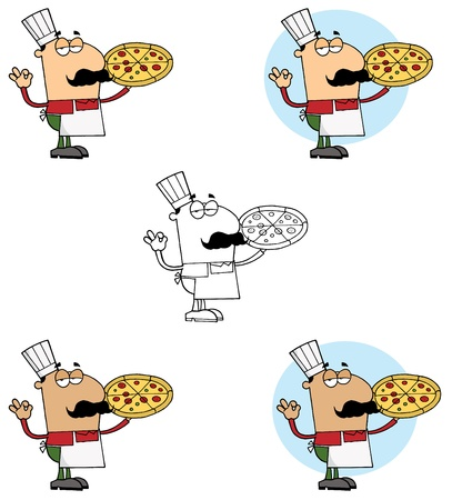 cartoony: Pizzeria Chef Holding A Pizza Collection