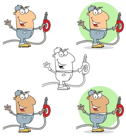 gas man: Gas Station Attendant Man Collection Illustration